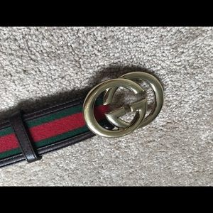 Gucci brown leather with green/red, gold GG buckle